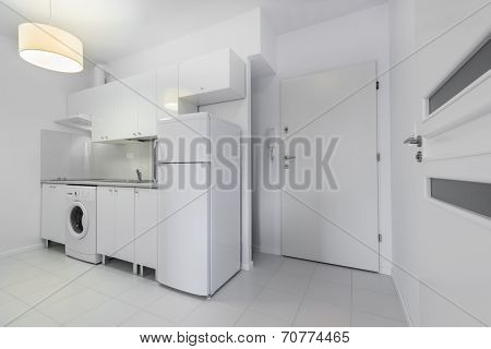 Small, White Compact Kitchen Interior Design