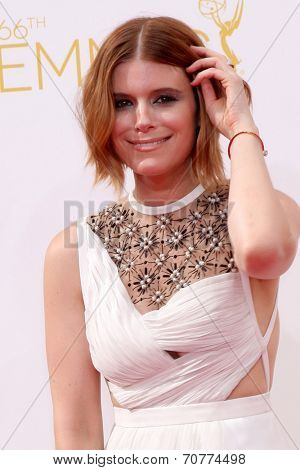 LOS ANGELES - AUG 25:  Kate Mara at the 2014 Primetime Emmy Awards - Arrivals at Nokia Theater at LA Live on August 25, 2014 in Los Angeles, CA