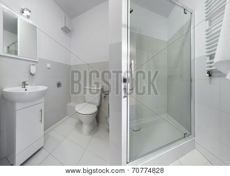 Panorama Of Small And Compact Bathroom
