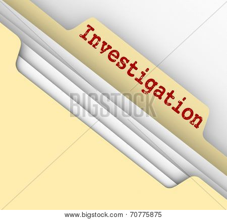 Investigation word typed on a manila file folder tab to store your findings, facts and research from investigating a case or project