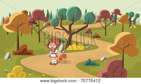 Cute cartoon little red riding hood in the wood with a basket in hands
