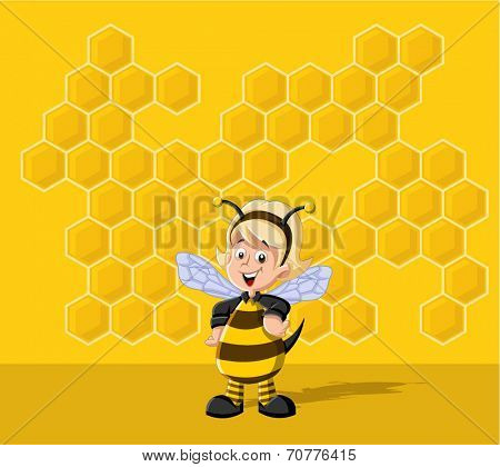 Cartoon bee girl in front of a honeycomb. Bee hive.