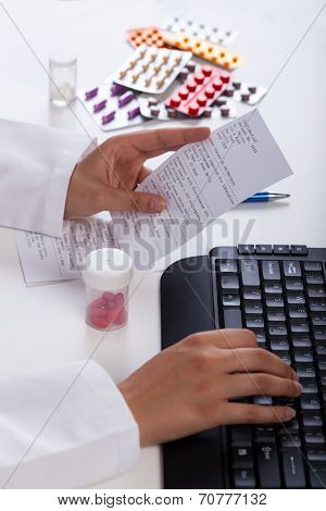 Pharmacist Realizing Prescription