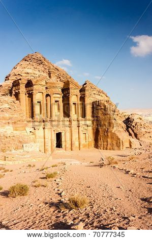 The Monastery (deir) At Petra In The Late Afternoon Sunshine