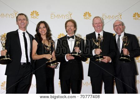 LOS ANGELES - AUG 25:  Phil Keoghan, Elise Doganieri, Jerry Bruckheimer, Bertram van Munster, Jonathan Littman at the EMMY Awards at Nokia Theater on August 25, 2014 in Los Angeles, CA
