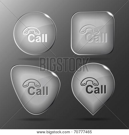 Hotline. Glass buttons. Raster illustration.