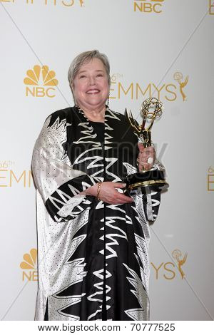 LOS ANGELES - AUG 25:  Kathy Bates at the 2014 Primetime Emmy Awards - Press Room at Nokia Theater at LA Live on August 25, 2014 in Los Angeles, CA