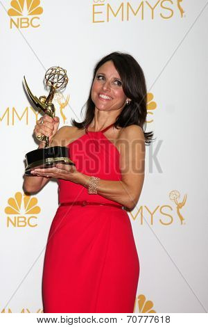 LOS ANGELES - AUG 25:  Julia Louis-Dreyfus at the 2014 Primetime Emmy Awards - Press Room at Nokia Theater at LA Live on August 25, 2014 in Los Angeles, CA