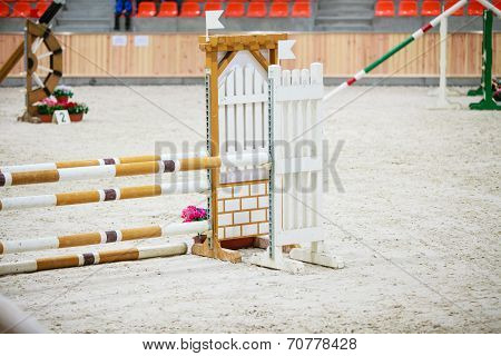 Yellow Blue White Obstacle For Jumping Horses. Riding Competition.