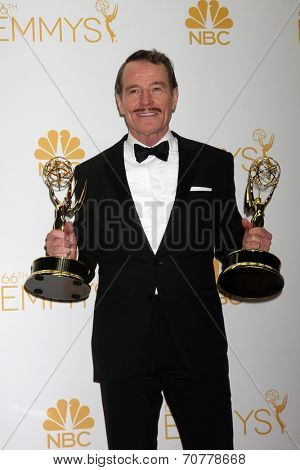 LOS ANGELES - AUG 25:  Bryan Cranston at the 2014 Primetime Emmy Awards - Press Room at Nokia Theater at LA Live on August 25, 2014 in Los Angeles, CA