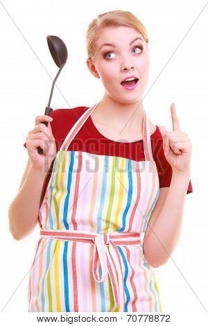 Funny Housewife Or Cook Chef In Colorful Kitchen Apron With Ladle