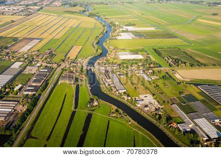 Aerial View Over The Amsterdam Suburbs