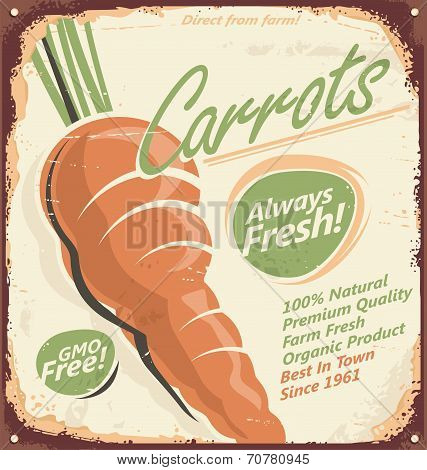 Vintage poster design with juicy carrot