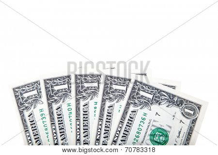 Five one dollar notes