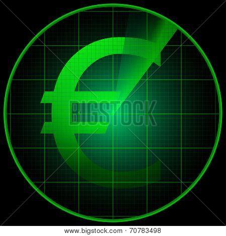 Radar Screen With Euro Symbol