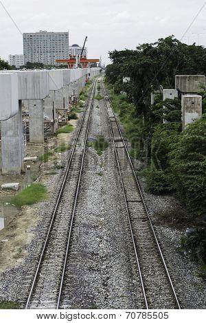 Two Railway Tracks Near Expressway