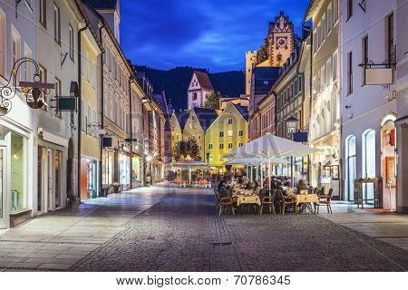 Fussen, Germany old townscape at night.
