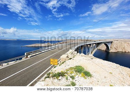 Adriatic sea and bridge to island of Pag in Croatia
