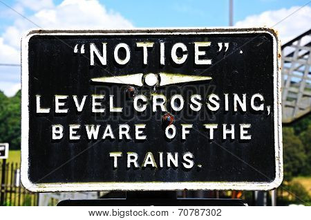Old Level Crossing sign.
