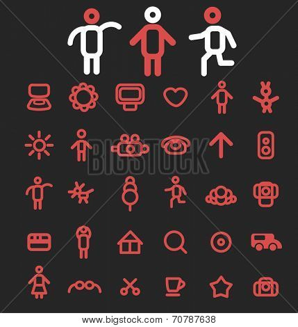 doodles lines isolated icons, signs, symbols, illustrations, silhouettes, vectors set