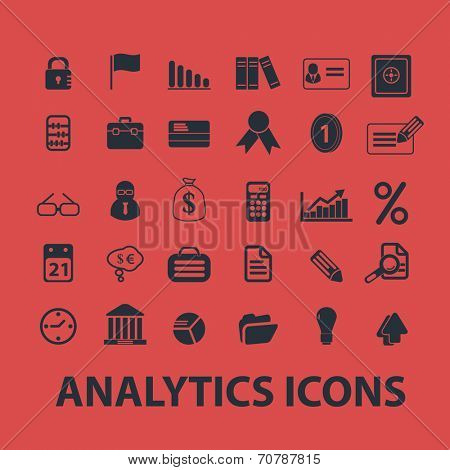 analytics, infographics, presentation isolated icons, signs, symbols, illustrations, silhouettes, vectors set
