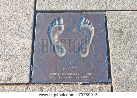 Footprint Of Albert Gore In Stavanger, Norway