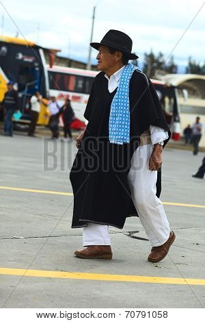 Man in Traditional Clothes in Ambato, Ecuador