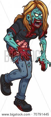 Walking zombie woman. Vector clip art illustration with simple gradients. All in a single layer.