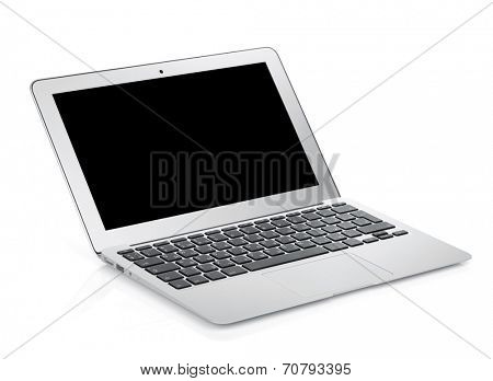 Netbook with black blank screen. Isolated on white background