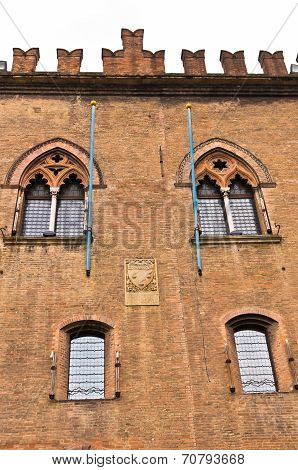 Architectural and heraldry details on castle Estense, City of Ferrara,  Italy