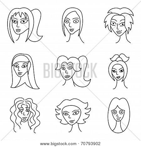 Different Comic Woman Faces