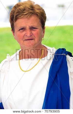 Lady Dressed In Roman Toga