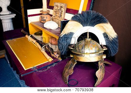 Rich Roman Helmet On Working Desk