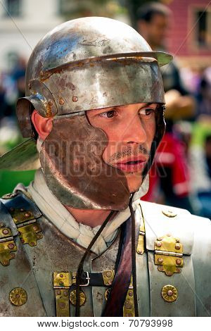 Roman Soldier With Helmet Close Up Portrait