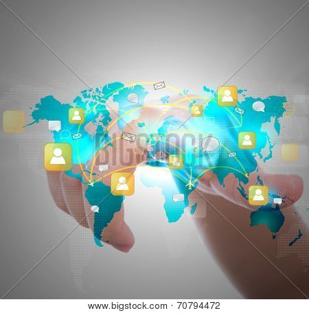 Social Network concept : hand point to social network and world map