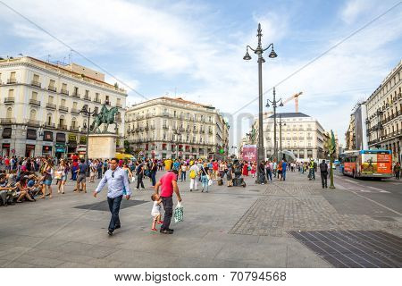 MADRID, SPAIN - JUN 6: Puerta del Sol, Madrid, one of the famous landmarks of the capital and the centre (Km0) of the radial network of Spanish roads on June 6, 2014 in Madrid, Spain