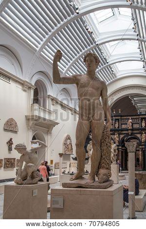 LONDON, UK - AUGUST 24, 2014: Classic sculpture in Victoria and Albert Museum.