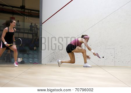 AUGUST 19, 2014 - KUALA LUMPUR, MALAYSIA: Aisling Blake (black) plays Madeline Perry (purple top) in a match in the CIMB Malaysian Open Squash Championship 2014.