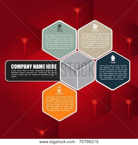 Red cubic vector background for brochure or web. Design with four business icons and place for text.