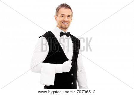 Professional waiter with a towel around his arm isolated on white background