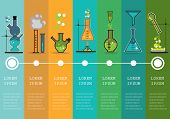 stock photo of chemistry  - Time line with Chemistry laboratory infographic flat elements vector illustration - JPG