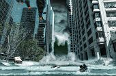 stock photo of typhoon  - A cinematic portrayal of a city destroyed by Tsunami waves - JPG