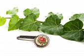 stock photo of brooch  - vintage fashion brooch with rose design and green leafs - JPG