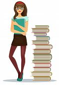 foto of clutch  - Beautiful young girl student wearing glasses clutching a file of notes standing alongside stacked books in a tall tower  vector illustration - JPG