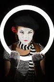 stock photo of clown rose  - Mime portrait - JPG