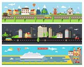 stock photo of landscape architecture  - Beautiful Vector Cartooninzed City Landscape Banners for Webpages - JPG