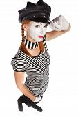 stock photo of clown rose  - Portrait of a mime comedian isolated over white background - JPG