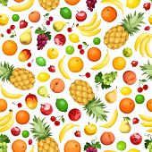 stock photo of strawberry plant  - Vector seamless background with various fruits on white - JPG