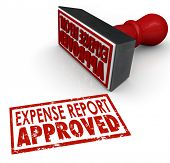 image of receipt  - Expense Report Approved words in a red stamp approving your costs and receipts for reimbursement - JPG