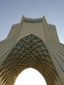 stock photo of tehran  - Azadi (freedom) Tower, Tehran capital of Iran, Azadi square architecture monument